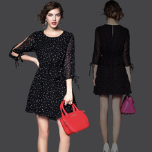 Summer  Dress 2015 Spring Strapless Print Elegant slim Chiffon O-Neck Plus Size L XL Fshion Women's Clothing Sexy Dresses