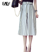 New Women Lady Loose Running Harem Striped Wide Leg Pants Fashion Sexy Chic Stylish Vogue Strip Calf-Length Pants Trousers(China (Mainland))