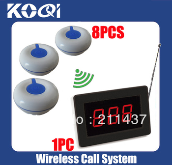 DHL freeshipping Waiter pager system for restaurant of 1wireless receiver + 8 waterproof 100% Call Button O1