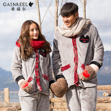 Song Riel autumn and winter flannel pajamas cartoon casual men and women couple home service package can Waichuan Red Zuimeng