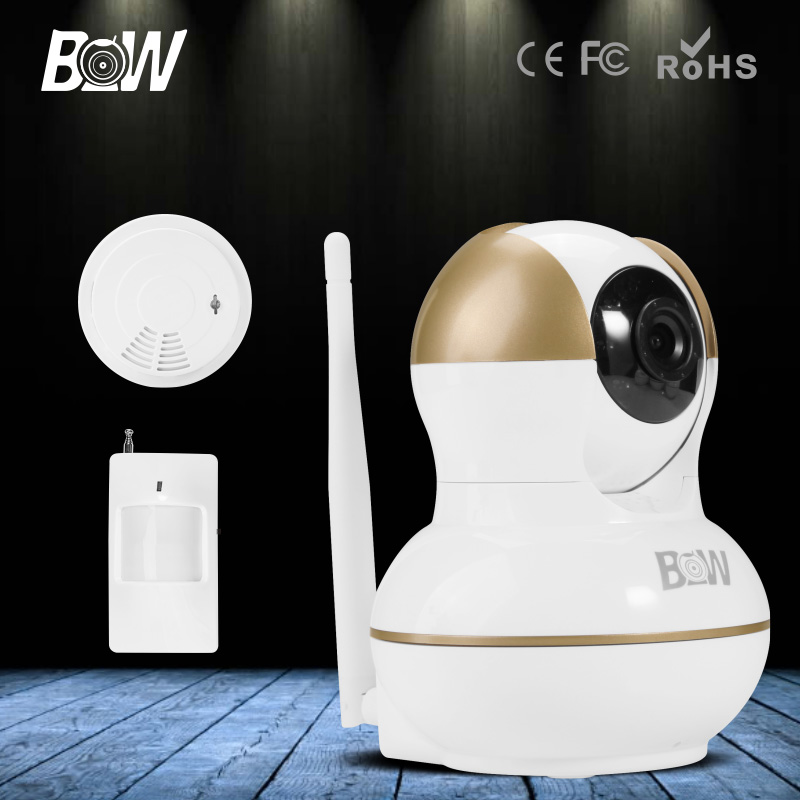 BW New Wireless P2P Support iOS Android IP Camera WiFi Video Security Surveillance Dome Infrared Motion Sensor + Smoke Detector(China (Mainland))