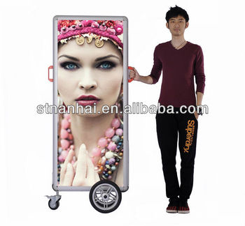 Free Shipping !!! J2A-298 Slim walker board led back pack media with rechargeable battery