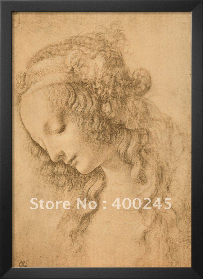 oil on canvas,High quality,Study for the Face of the Virgin Mary of the Annunciation Now in the Louvre by Leonardo da vinci(China (Mainland))