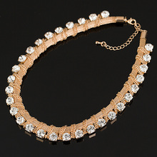 New Charm gold plated Chains Choker Rhinestones Women Fashion Crystal Necklaces & Pendants Statement Vintage Jewelry # N028(China (Mainland))