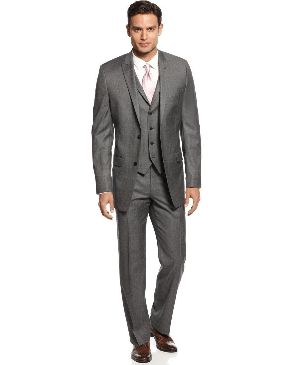 custom made side vent two buttons gray groom tuxedos peak