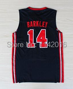 Free Shipping 1992 Barcelona Olympic Game Jersey,1992 USA Dream Team Charles Wade Barkley #14 Men's National Basketball Jersey(China (Mainland))