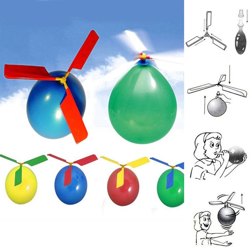 10Pcs Colorful Classic Balloon Helicopter Child Party Bag Filler Flying Toys #71942(China (Mainland))