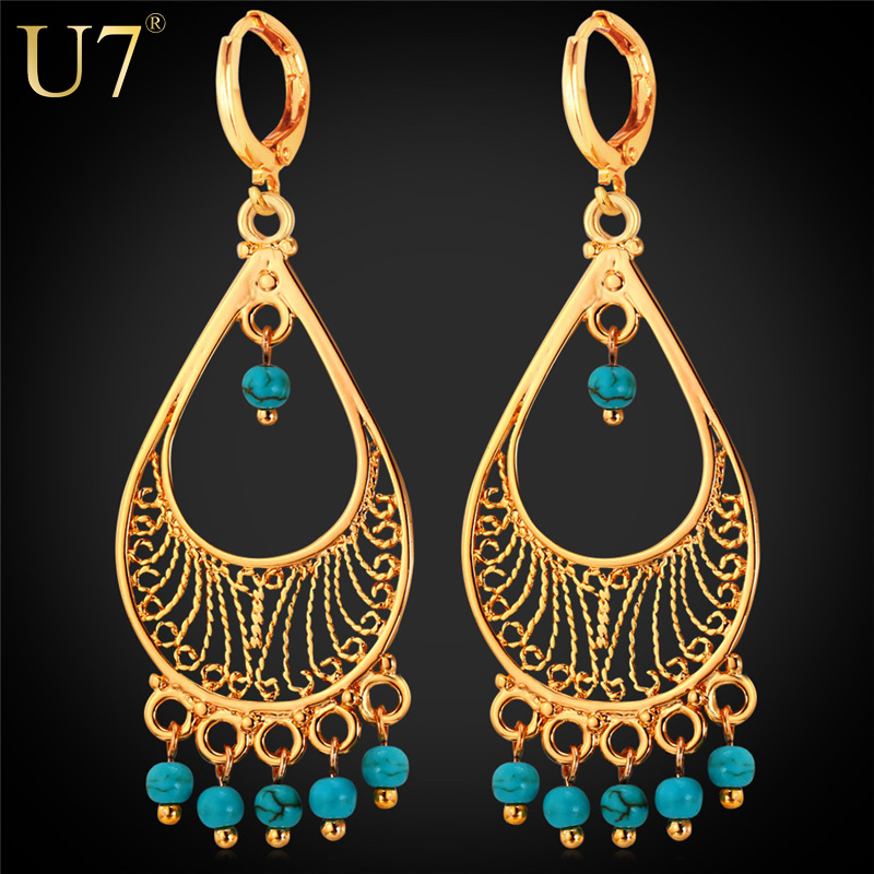 U7 Turkish Turquoise Statement Earrings Wholesale 18k Gold/Platinum Plated Drop Earrings For Women Bohemian Jewelry Fashion E704(China (Mainland))