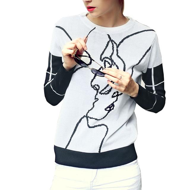 Женщины милый мультфильм шаблон пуловеры плед с длинным рукавом вязаные свитера мода ...