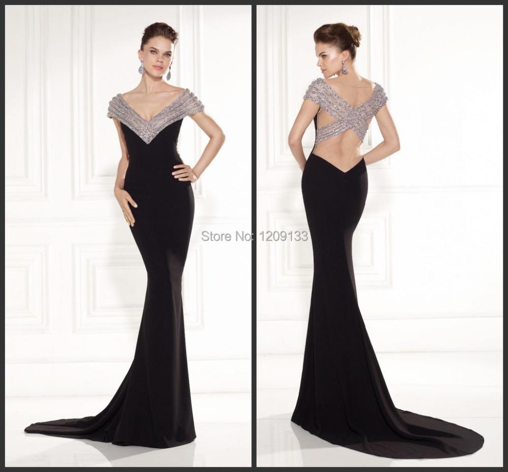 Элегантный длинная вечернее платье роскошь сексуальный вышивка бисером с v-образным вырезом открытая задняя часть черный русалка платье vestidos партии largos
