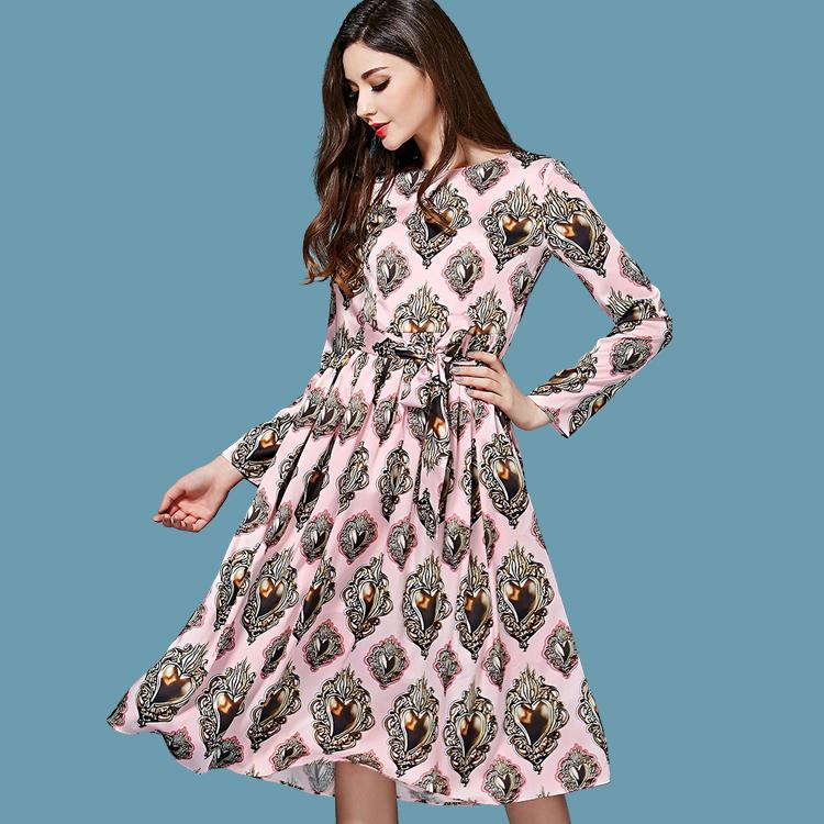 Free Shipping ! 2015 Early Spring New Fashion Runway Plus Size XXL Diamonds Printing Slim Long-sleeved Pink Midi Dress With Belt(China (Mainland))