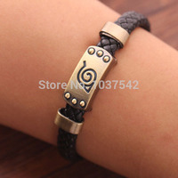 A3Hot new Naruto Bracelet Leaf Mark Brown Wristband Cosplay Bangle FHRG For Anime Fan free shipping T1458 P