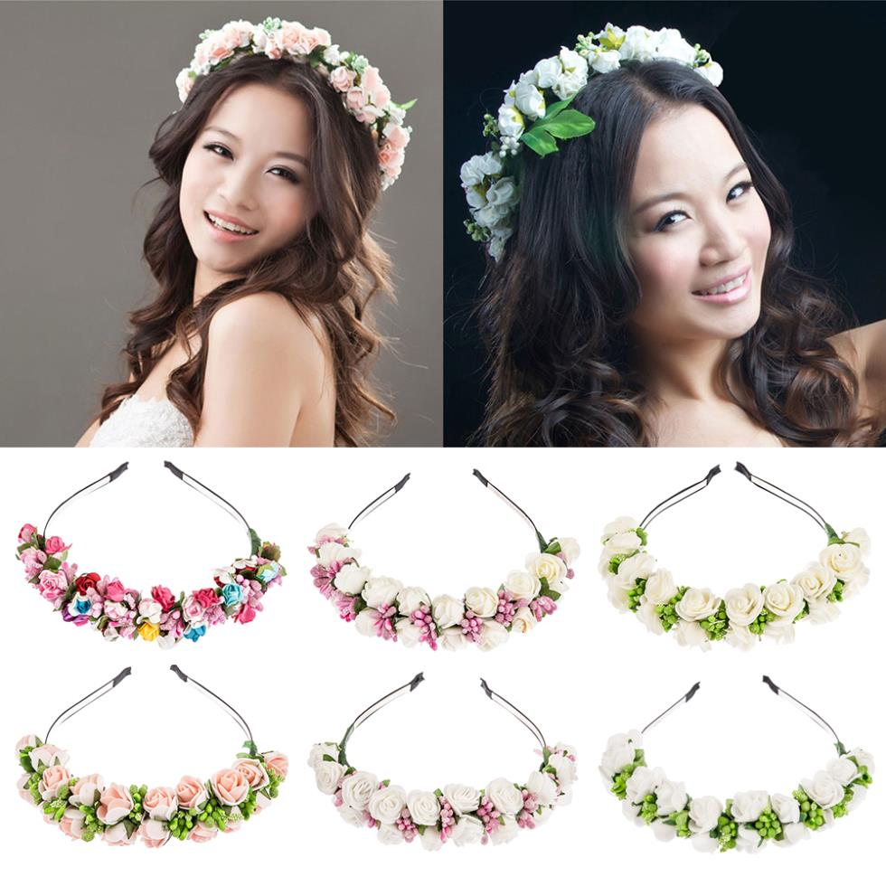 2015 New Flower Garland Floral Bride Headband Hairband Wedding Party Prom Festival Decor Princess Floral Wreath Headpiece(China (Mainland))