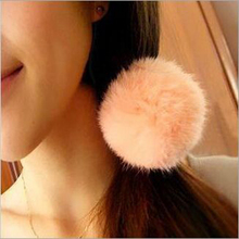 Lovely Artificial Rabbit Fur Ball Elastic Rope Hair Bands Lady Girl Fashion Hair Accessories New White