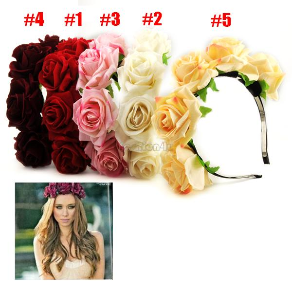 handmade bride floral crown rose headband flower hair garland festival wedding hair accessories hairbands EQB934(China (Mainland))