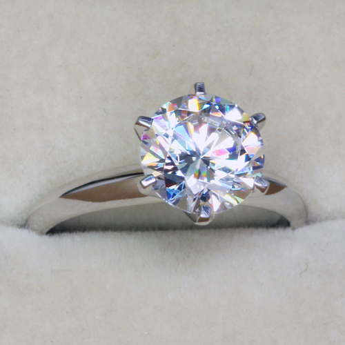 Simple Elegant 3 Carat Solitare NSCD Simulated Diamond Engagement Ring For Wo