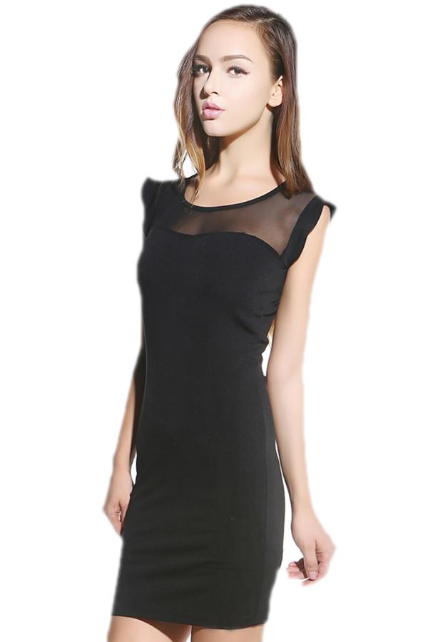 Платье облегающее, женщины воротник-лодочка марля пэчворк платья черный элегантный бандажное дамы приталенный s-2xl