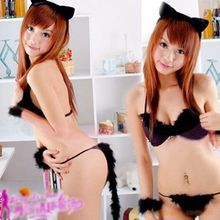 Women Black Lingerie Eyra Uniform Temptation Bra G-string Catwoman Cosplay Sexy Underwear Sleepwear Clothes Babydolls YXT1037