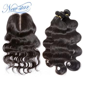 Новая звезда волосы Перуанский девственные волосы с закрытием Перуанский тела волна 3 расслоения с средней части объемной волны кружева закрытие