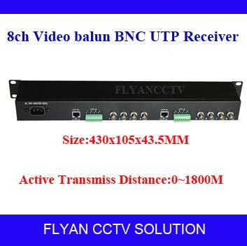 8CH active Video Balun CCTV Camera Video Balun UTP CAT5 1U UTP Video Transceiver BNC to RJ45 Converter Transmission 1800M(China (Mainland))