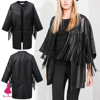 Модные выдалбливают искусственной кожи черный нерегулярные кисти бахромой кардиган ...