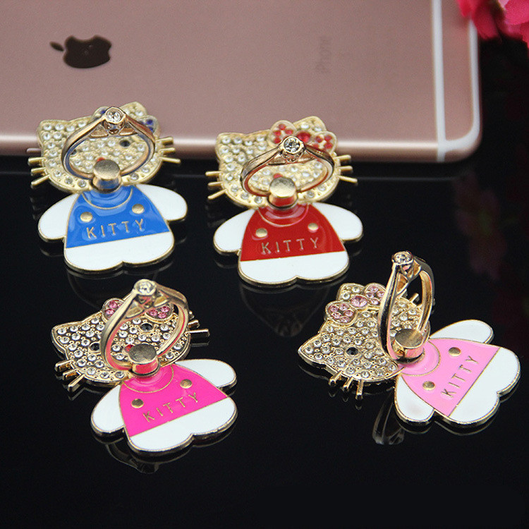 NEW Luxury Bling diamond cartoon Hellokitty Ring holder universal mobile phone for iPhone 5s 6 6s Plus Samsung Galaxy S4 S6 S7(China (Mainland))
