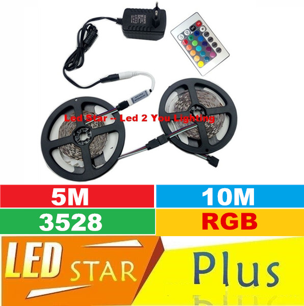 RGB 5m 10m Led Strips Set Lights 60LEDs/m SMD 3528 DC 12V Led Rope Lights Strips + Remote Control + Power Supply(China (Mainland))