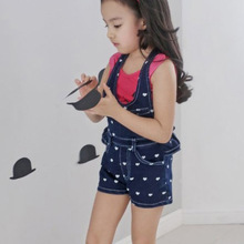 2016 Children Heart Pattern Denim Overalls Baby Girl Cotton Overalls Summer Girls Princess Denim Pants Kids Cute Clothes
