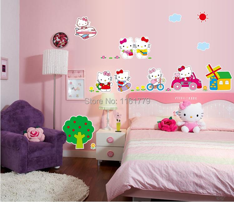 kt cat hello kitty bedroom decor wall sticker for girls rooms diy ...