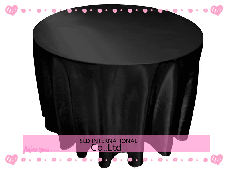 FREE SHIPPING TO RUSSIA Black Cheap Wedding Round Tablecloths For Weddings 90'' Round Size(China (Mainland))
