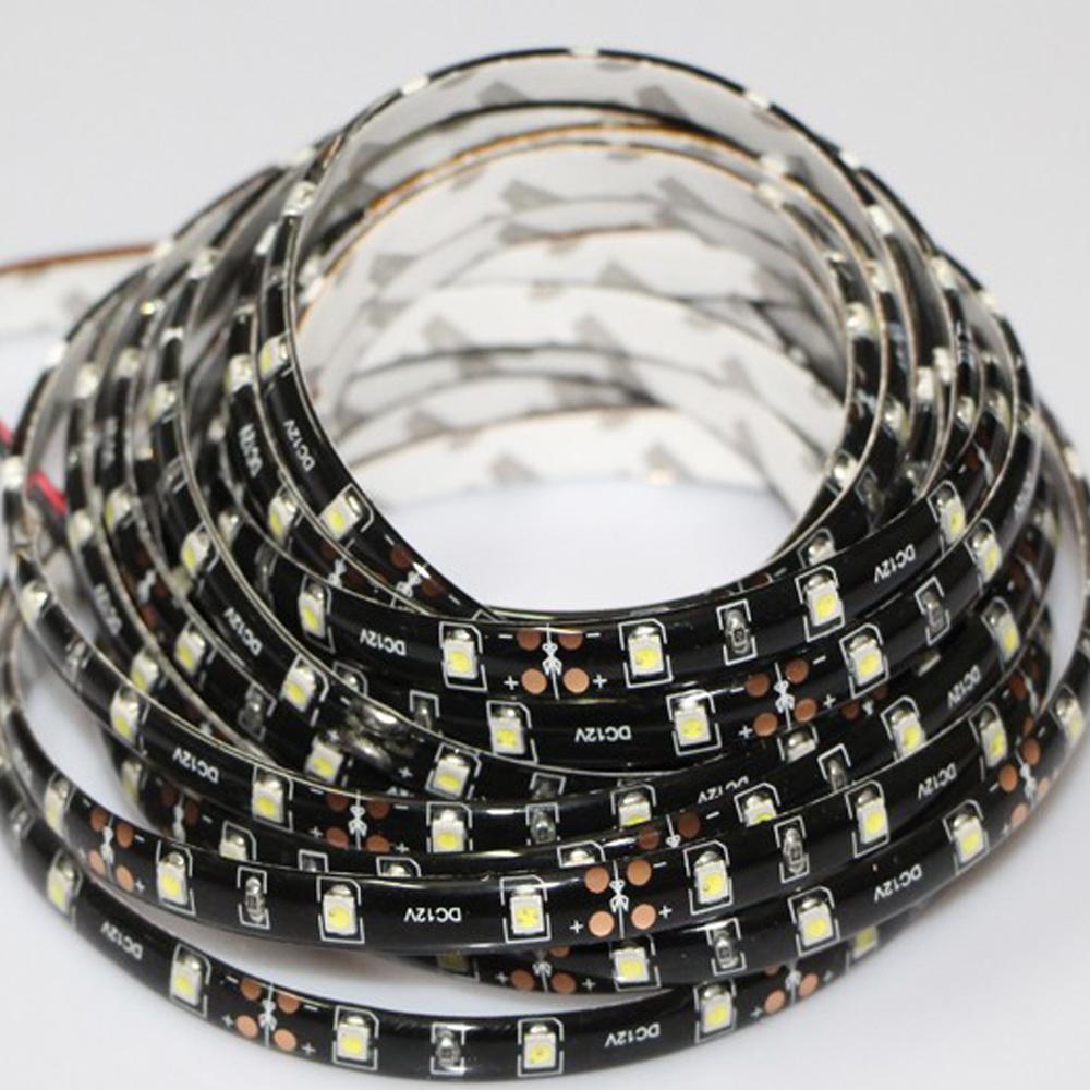 DC12V 3528 smd waterproof RGB flexible strip light 60 leds/m tira PCB Black Decor tape ribbon Car Daytime Running lights(China (Mainland))
