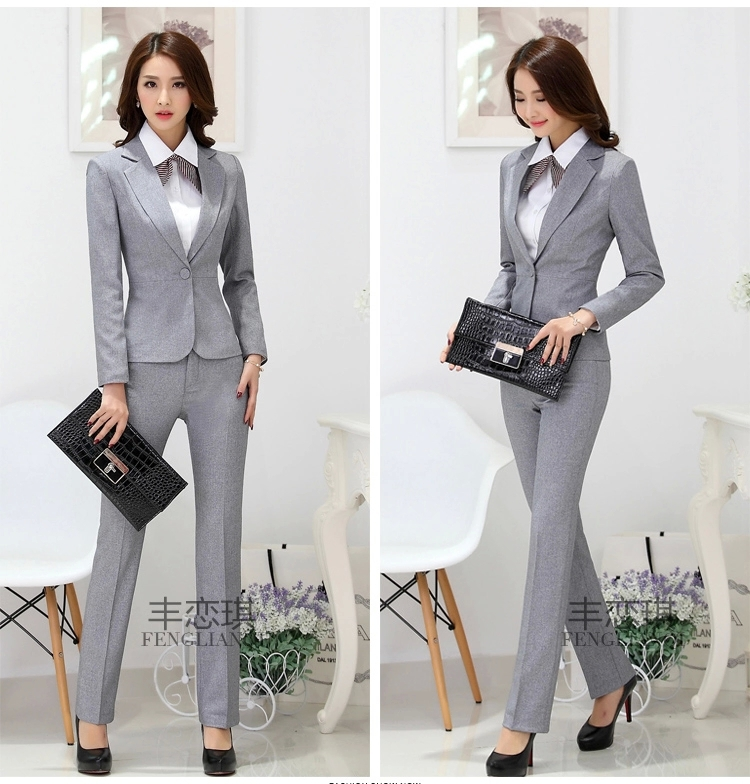 Wonderful Slim Women39s Grey Black Blazer Pant Female Formal Work Wear Pants Suit