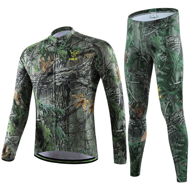 Men Forest Camouflage Cheji Winter Cycling Clothing / Bike / Cycle / Bicycle Long Jersey Sets (Jersey And Pants)