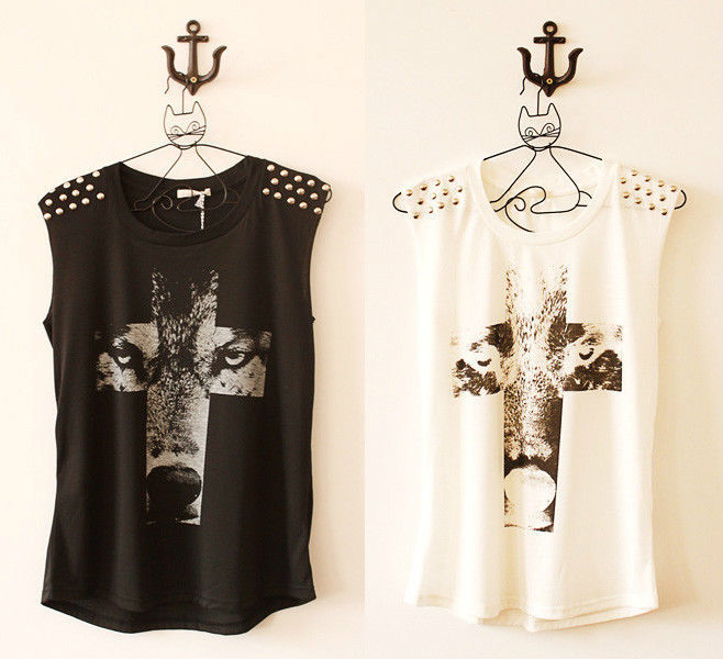 New Women Punk Rivets Wolf Cross Printed Sleeveless Tank Vest T-Shirt Top Black(China (Mainland))
