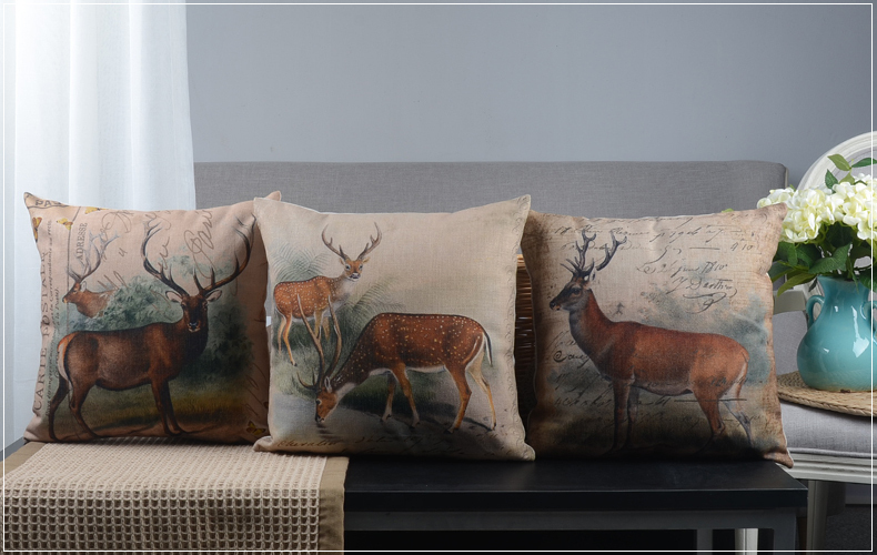 oil painting animal elk reindeer pattern Cushion Cover home decorative throw pillow Case - Joy's Little Shop store