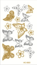 10x6cm sex products Supply 10.5*6cm waterproof tattoos gold tattoo flash tattoos gold silver tatoo temporary stickers HC-5003(China (Mainland))