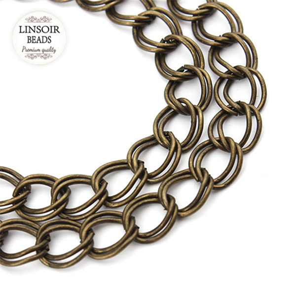 5meter/lot Wholesale Double Ring Necklace Open Link Chains Tone Bulk Brass Chains For Diy Jewelry Making Necklace Findings F900(China (Mainland))