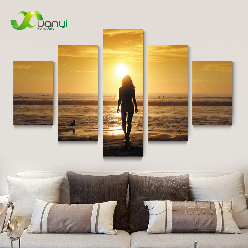 5 Piece Canvas Art Sunset Beach Nude Women Oil painting Home Decor Wall Pictures For Living Room Canvas Prints Unframed PR1252(China (Mainland))