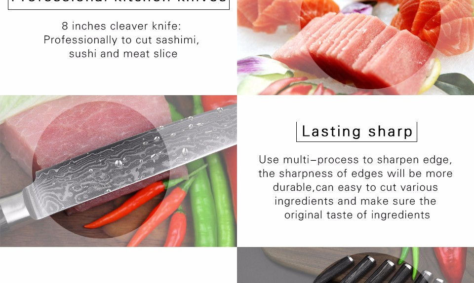 "Buy XINZUO 8 ""inch China Damascus kitchen knife cleaver knife 67 layers kithcen tool senior Sashimi knife pakka wood free shipping cheap"