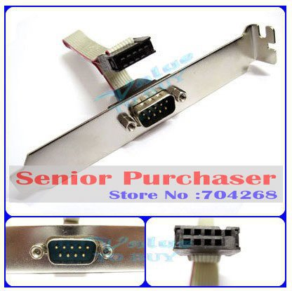 high quality wholesale  Motherboard mainboard Serial 9 pin RS232 Com Port Bracket Cable connector DB9<br><br>Aliexpress