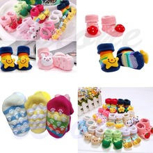 Hot Sale 1 Pair Cute New Baby Girl Boy Cotton Cartoon Anti slip Soft Shoe Socks