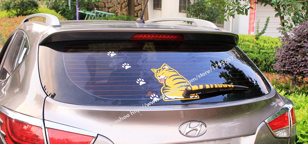 Fashion 2016 NEW Hot Sales Cartoon Funny Cat Moving Tail Stickers Reflective Car Window Wiper Decals car styling accessories