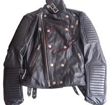 Factory Women's Leather Jackets Genuine Real Sheepskin Brand Fashion Slim Short Black Ladies Biker Motorcycle Coat Jaqueta ZH070(China (Mainland))