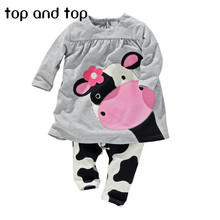 2015 winter hot sale baby girl clothes casual long-sleeved T-shirt+Pants suit Tracksuit the cow suit of the girls(China (Mainland))