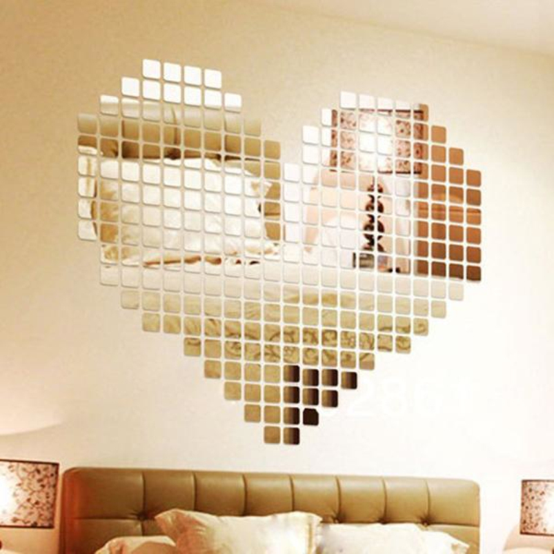 3D Silver Mosaic Mirror Wall Stickers Home Decor Bedroom Modern Acrylic Abstract Diy Mirrors Decal Living Rooms Art Accessories(China (Mainland))