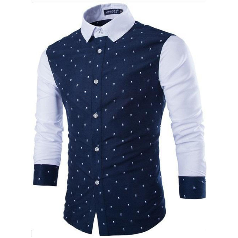2015 brand new men casual slim fit fashion patchwork long