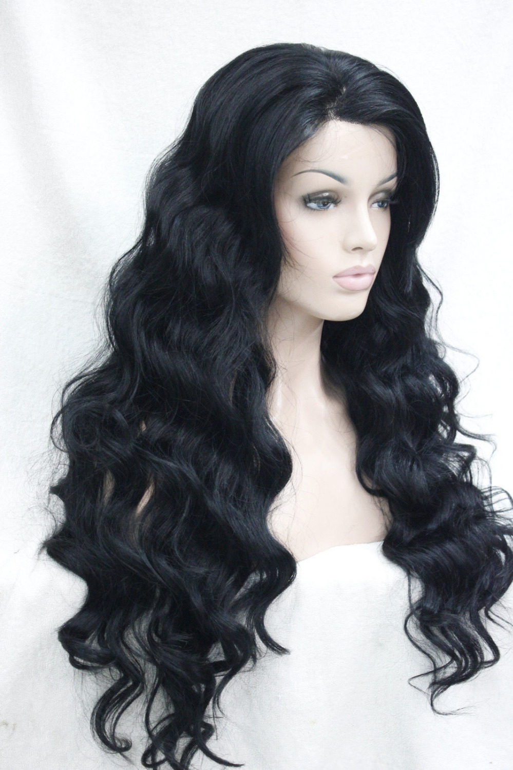 0000120 Very quality good fashion long synthetic jet black Lace Front Wig Wavy wigs<br><br>Aliexpress
