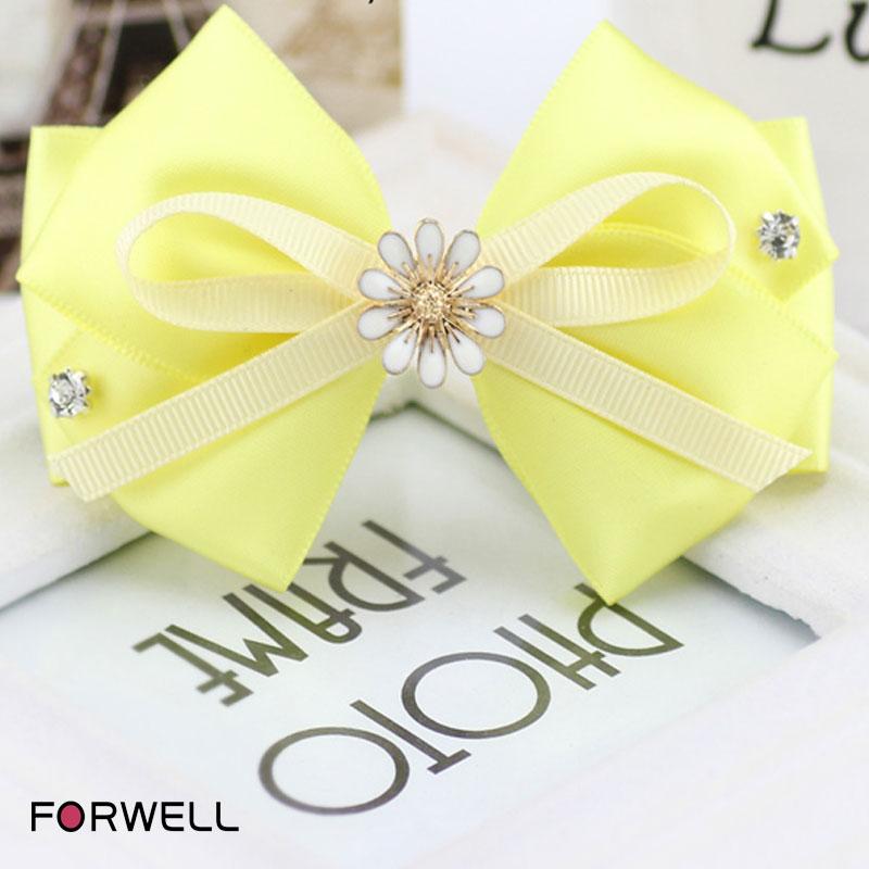Handmade bow hairpins hair ornaments for girls women yellow satin bow hair clip headwear put hair up barrettes hair accessories(China (Mainland))