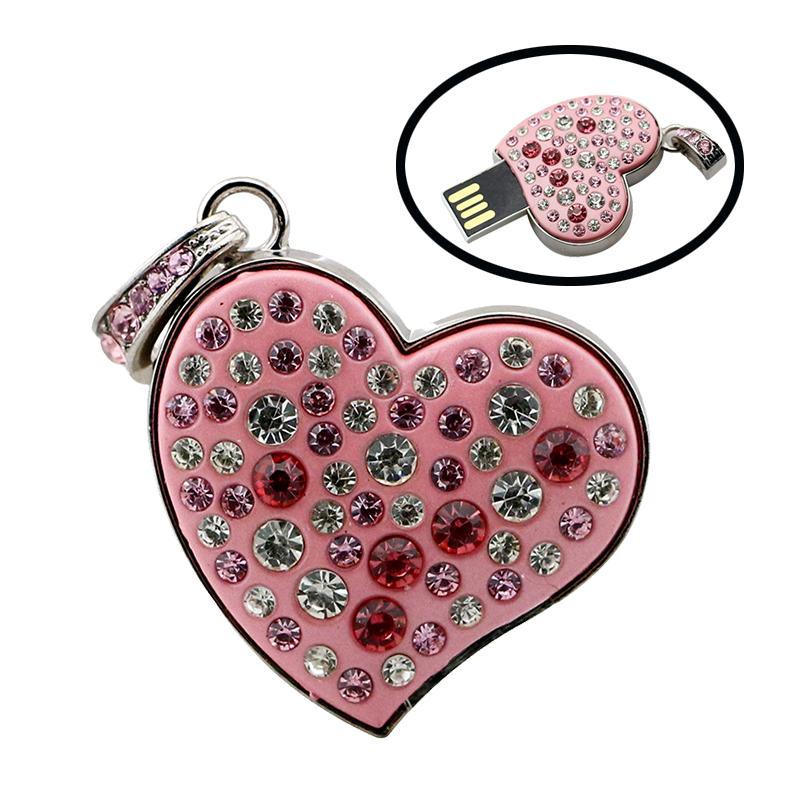 Diamond Crystal Heart 8GB 16GB 32GB 64GB Jewelry Metal USB Flash Memory Drive U Disk Necklace usb flash drive(China (Mainland))
