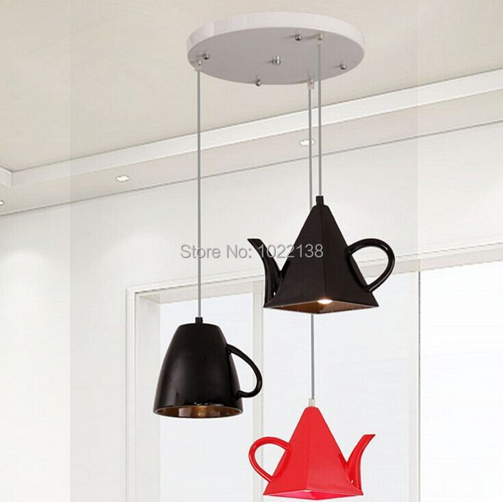 Modern resin teapot pendant lights Tea cup Pendant lamp bar/coffee lighting E27 Single head white/Black/Red home decoration free(China (Mainland))